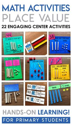 Place Value Math Center games! 22 hands-on math center activities that will teach students how to write, model and draw numbers using tens and ones. Place Value Activities, Math Place Value, Math Activities, Math Worksheets, Math Resources, 1st Grade Math Games, Second Grade Math, Third Grade, Games Of Math