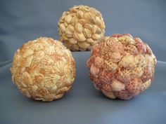 Sea Shell Balls / Speres  Set of 3 by judystephenson on Etsy, $48.00