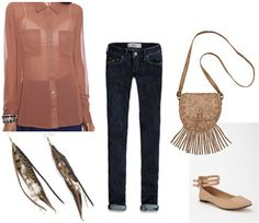 Outfit idea: Chiffon blouse worn with simple skinny jeans