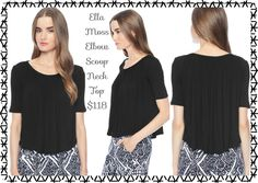 Ella Moss Elbow Scoop Neck Top:  Chic top with an easy, effortless silhouette. Soft pleats gathered at neckline drape elegantly throughout. Dress it up with a skirt or pair it with jeans for a more casual look. Round collar. Half sleeves. Cropped hem with shirttail detail. She is: Height: 5'11, Bust: 34, Waist: 24, Hips: 35, Dress: 2-4. FABRIC: 96% Rayon, 4% Spandex. Made in the USA.  Available size XS-M