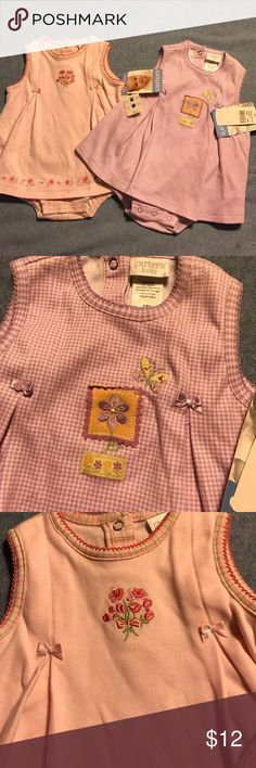 """CARTER'S BABY New With Tags One Piece Rompers Two Available -price is for both together. There is a purple check and other is solid pink.  One piece rompers with a """"dress"""" type front.  Size 3-6 months, 12-18 lbs.  100% Cotton. NEW with tags. Carter's One Pieces"""