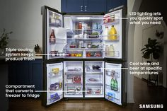 The Family Hub refrigerator lets you store your favorite foods the way you want. Freeze or cool in the FlexZone, which lets you customize your fridge's temperature settings. Your kitchen has never been so flexible - or so attuned to you.