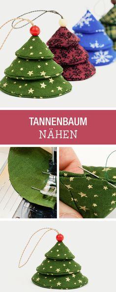 Dekoideen für Weihnachten: Näh kleine Tannenbäume als Weihnachtsbaumschmuck / diy christmas decoration: how to sew little christmas trees via DaWanda.com
