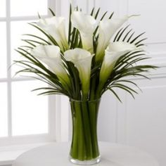 Calla Lily Bouquet is an extraordinary display of these exquisite white blooms. Gorgeous and bright, our finest full-sized white calla lilies capture the essence of beauty and sophistication accented by lush palm leaves Arrangements Ikebana, Church Flower Arrangements, Flower Centerpieces, Flower Vases, Flower Decorations, Floral Arrangements, Wedding Centerpieces, White Lily Bouquet, Calla Lily Bouquet
