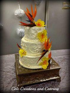Wedding cake with birds of paradise