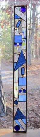 Stained Glass Window - stained glass panel - glass panel suncatcher - abstract glass design - blue & clear glass - gift for her - art glass Stained Glass Designs, Stained Glass Panels, Stained Glass Projects, Stained Glass Patterns, Leaded Glass, Stained Glass Art, Mosaic Art, Mosaic Glass, Fused Glass