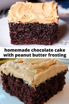 homemade moist chocolate cake topped with creamy peanut butter frosting is my favorite dessert ever! And so easy! homemade moist chocolate cake topped with creamy peanut butter frosting is my favorite dessert ever! And so easy! Food Cakes, Cupcake Cakes, Cupcakes, Delicious Cake Recipes, Yummy Cakes, Dessert Recipes, Easter Cake Desserts, Birthday Desserts, Homemade Chocolate