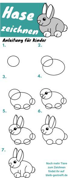 Hase zeichnen lernen für Kinder - 3 extra leichte Anleitungen