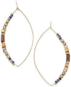 Inc International Concepts Gold-Tone Beaded Navette Drop Earrings, Only at Macy's