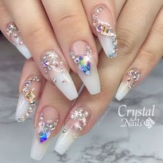 Gorgeous #SwarovskiNails by @classicmully  Find Swarovski crystals for nails at DailyCharme.com  #swarovskicrystals #diamondnails