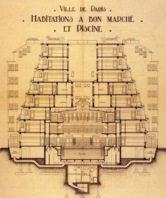 Henri Sauvage, Immeuble-piscine, rue des Amiraux, Paris, 1916-27  coupe d'un…