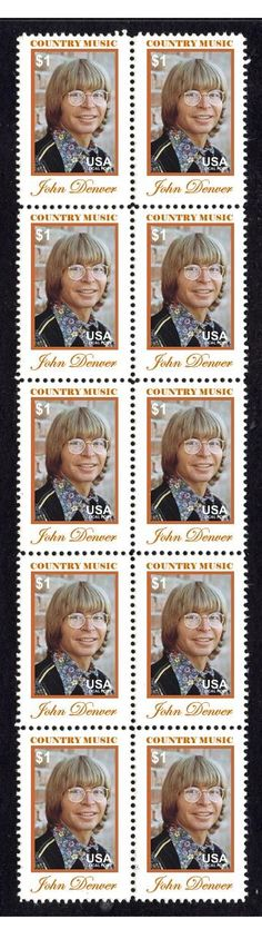 JOHN DENVER COUNTRY MUSIC STRIP OF 10 MINT STAMPS