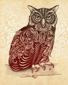 Most Ornate Owl  by Rachel Caldwell via http://society6.com