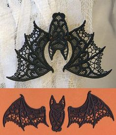 "Stitch out three freestanding lace pieces, then put them together to make this lovely, spooky bat. Size listed is for one wing; assembles to create a bat with a wingspan of about 7.5""."