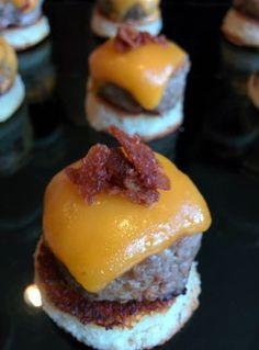 A1b Bacon Burger Bites on White Polenta Cakes #A1