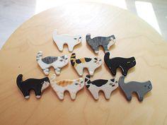 Ceramic Cat brooches by sosim