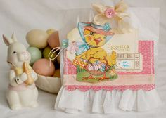 What a terrifically cute vintage inspired Easter card! <3 #card #Easter #shabby #chic #vintage #cute #scrapbooking