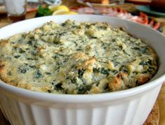 Spinach Artichoke Dip - this was really yummy!  I used light cream cheese because that is all I had and it still came out well.  I do think it needs a bit of salt next time.