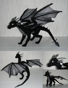 This is a needle felted black wyvern--a wyvern being a draconic creature with only two wings and two legs (no forelegs). This guy was a real challenge! I've been working on him since before I ...