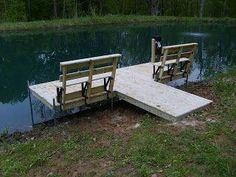 Here are some pictures of the perfect small pond dock. This is Bernie Koch's stationary kicking back and relaxing dock. It is dock . Living Pool, Outdoor Living, Outdoor Decor, Lake Dock, Boat Dock, Pontoon Dock, Farm Pond, Garden Pond, Building A Pond