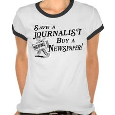 Buy Newspaper Save Journalist Ladies Ringer Tee (more styles available) #job #shirt