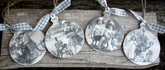 Christmas Ornaments Set of 4 Vintage Style by ForesteDiOro on Etsy