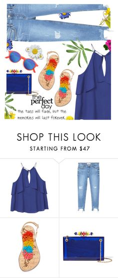 """""""Summer: everyday is perfect"""" by juliehooper ❤ liked on Polyvore featuring MANGO, Sam Edelman, Charlotte Olympia, Summer, denim, sandals and polyvoreeditorial"""