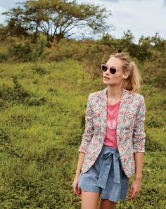 "J.Crew women's Campbell blazer in Liberty® poppy & daisy floral, ""OAHU"" T-shirt, tie-waist short in chambray and Piper sunglasses."