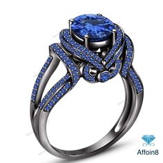 1 CT 14K Black Gold Plated Round Cut Blue Sapphire In 925 Silver Engagement Ring #Affoin8 #SolitaireWithAccentsEngagementRing