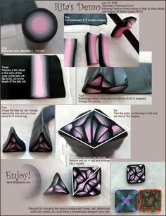 Geometric cane photo tutorial done by Rita Dumais Sim. She gives credit for the original technique to Patricia Kimle - step by step beads July/August 2006 edition http://www.photoplus.ws/polymerclay/menu/tutorial/t003.php