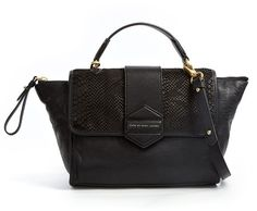 Flipping Out Stamped Leather Top Handle Shoulder Bag