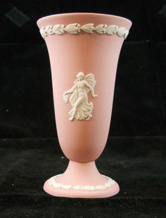 Wedgwood Pink Jasperware Tapering Footed Trumpet Vase With Classical Muses