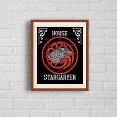 family flag Instant download PDF House Stark Cross stitch pattern modern chart movies