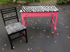 Hand painted desk and chair for young or teenage girl. (My Nana painted this for my room. Looks so cool!) :)