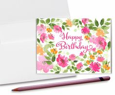 Birthday Card Watercolor Birthday card Modern by DoodleGraphics