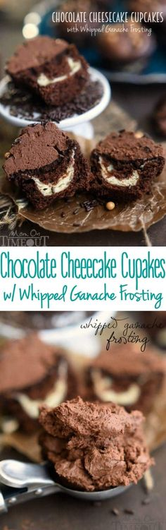 These Chocolate Cheesecake Cupcakes recipe with Whipped Ganache Frosting are sure to cure that chocolate craving! These cupcakes are the real deal - and that frosting - pure heaven!   MomOnTimeout.com   #PinThatTwist