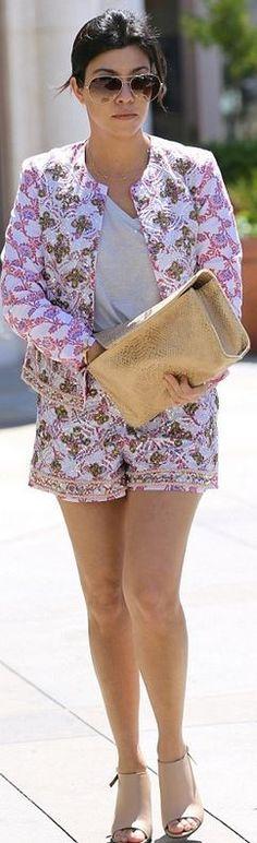 Kourtney Kardashian: Sunglasses – Dita  Necklace – Jennifer Meyer  Jacket and shorts – Asos