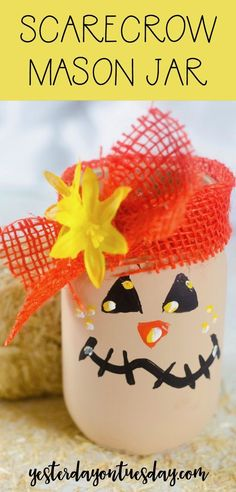 Scarecrow Mason Jar: How to make a darling scarecrow mason jar for fall! mason jar | scarecrow | fall decor | glass jars | autumn | DIY