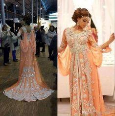 Elegant Kaftan Abaya Arabic Evening Dresses Beaded Sequins Appliques Chiffon  Long Formal Gowns Dubai Muslim Prom Dresses 8ba8da83190b