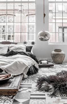 grey love loft avec carreau ciment, linge de lit en lin carrelage tiles