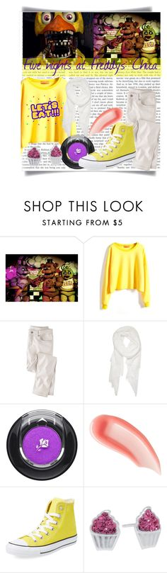 """""""Fnaf chica"""" by dreamdesigner012 ❤ liked on Polyvore featuring Freddy, Wrap, Calvin Klein, Lancôme, Ilia, Converse, Silver Treasures, yellow, purple and chica"""