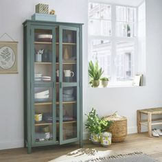 In gorgeous eucalyptus green, the ALVINA cabinet is the ideal place for keeping spices, glasses, dishes, trinkets or books. Tempered Glass Door, Tempered Glass Shelves, Home Furnishing Accessories, Home Furnishings, Furniture Makeover, Home Furniture, Dresser Makeovers, Furniture Design, Vaisseliers Vintage
