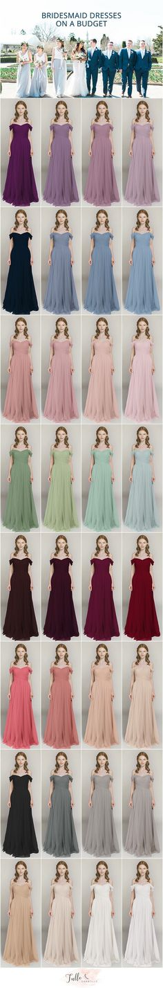 off the shoulder tulle bridesmaid dresses with 40+ colors