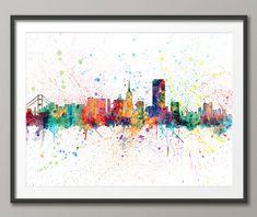San Francisco Skyline, San Francisco California Cityscape Art Print (1959) by artPause on Etsy