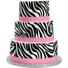 Zesty Zebra Cake. It's a nod to 50's fashion—and big news for party cakes! The zebra print is one of the amazing patterns available in Sugar Sheets!