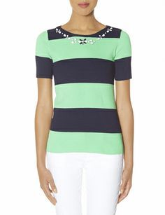 Striped Embellished Sweater Tee from THELIMITED.com #TheLimited #Tops #Pastel #SpringStyle #Stripes