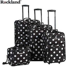 @Overstock - Arrive at the airport in style with this deluxe black polka dot luggage set. With its fully lined interior and separate organizational pockets, this set is both trendy and practical, a combination that will please even the most experienced traveler.http://www.overstock.com/Luggage-Bags/Rockland-Black-Dot-4-piece-Expandable-Luggage-Set/3297805/product.html?CID=214117 Add to cart to see special price
