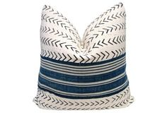 (FI) Home Collection African  Tribal Natural &  Blues  Pillow on sale today. SHOP :Fragments Identity @onekingslane.com