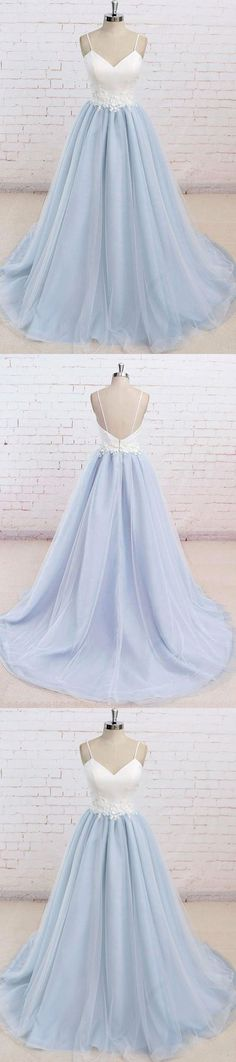 Spaghetti Straps Sweep Train Backless Light Blue Tulle Prom Dress G271#prom #promdress #promdresses #longpromdress #2018newfashion #newstyle #promgown #promgowns #formaldress #eveningdress #eveninggown #2018newpromdress #partydress #meetbeauty #aline #spaghettistrap #skyblue #sweeptrain #backless #tulle