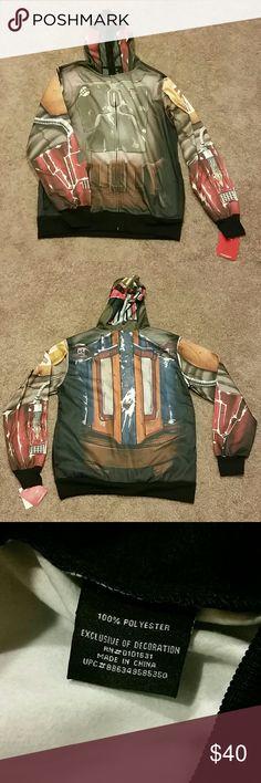 Nwt men's  Boba Fett hoodie Nwt men's Boba Fett hoodie.  Features a zip over the face mask. Star Wars Jackets & Coats Lightweight & Shirt Jackets
